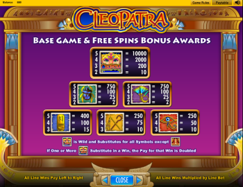 Cleopatra Slot – Paytable 1