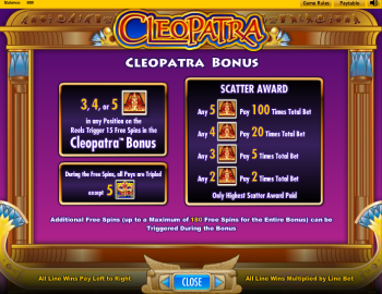 Cleopatra Slot – Paytable 2