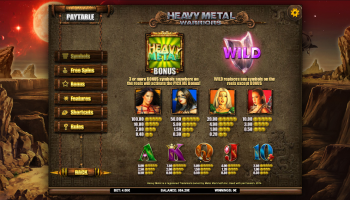 Heavy Metal Warriors – Paytable 1