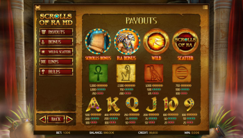 Scrolls of Ra HD – Paytable