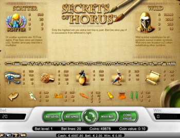 Secrets of Horus – Paytable