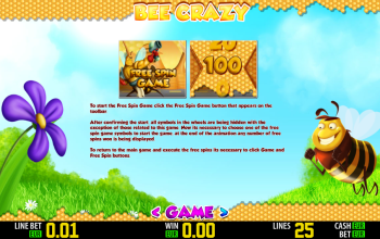 Bee Crazy – Paytable Free Spin Game