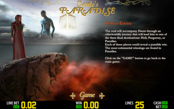 Dantes Paradise – Paytable Bonus Game