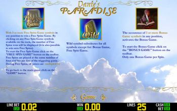 Dantes Paradise – Paytable Features
