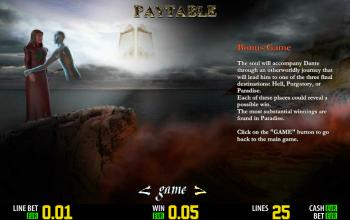 Dantes Purgatory – Paytable Bonus Game