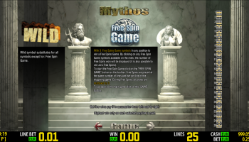 Mythos – Paytable Wilds and Free Spins