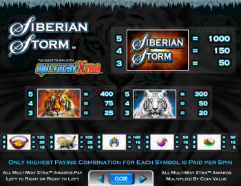 Siberian Storm – Paytable 1