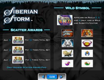 Siberian Storm – Paytable 2