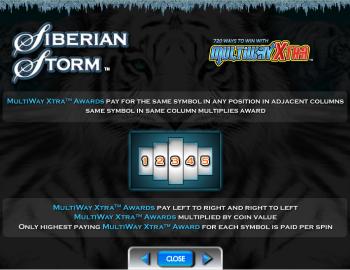 Siberian Storm – Paytable MultiXtra