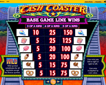 Cash Coaster – Paytable 2
