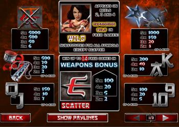 Elektra – Paytable