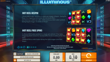 Illuminous Slot – Paytable 1