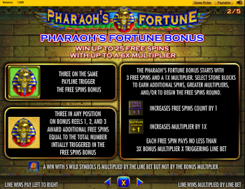 Pharaohs Fortune – Paytable 2