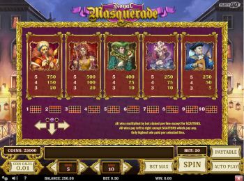 Royal Masquerade – Paytable 2