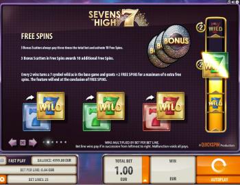 Sevens High – Paytable 2