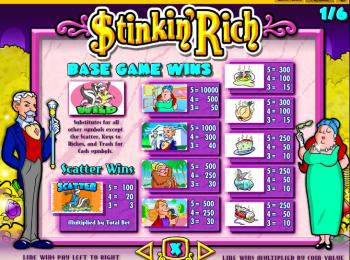 Stinkin Rich – Paytable 1