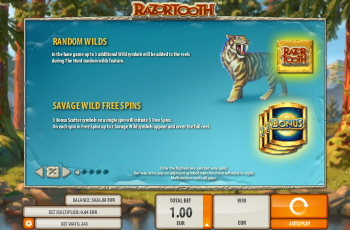 Razortooth Slot Machine – Paytable 1